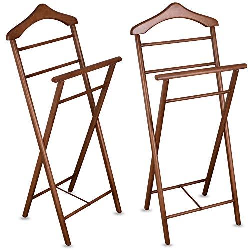 Staboos 2er Set Stummer Diener aus Massiv Holz - klappbarer Herrendiener und Butler - fertig montierter Damendiener Kleiderständer in 3 Farben (Nussbaum)