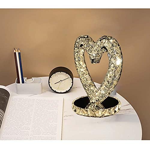 JSBVM Lámpara de Escritorio de Cristal en Forma de Corazon, Lámpara de Escritorio Minimalista Moderna de Acero Inoxidable, Base Antideslizante, Cristal K9 Ideal para Dormitorio