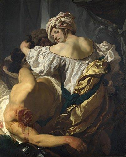 Het Museum Outlet - Johann Liss - Judith in de Tent van Holofernes, Stretched Canvas Gallery verpakt. 38 x 48 cm.