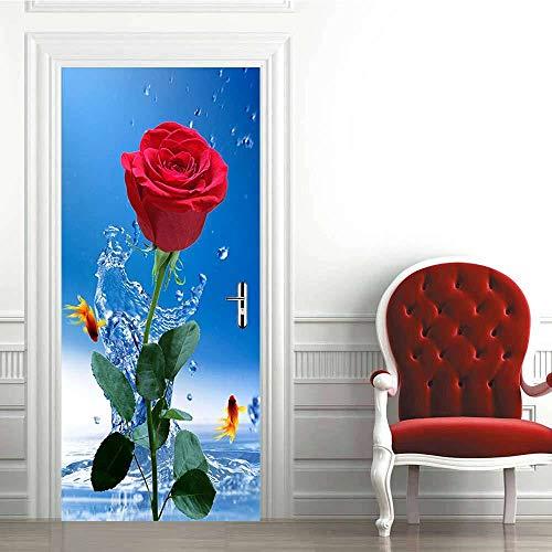 Pegatinas de Puerta 3D-Rosa Roja-Murales Autoadhesivos Decoración del Hogar Pegatinas de Pared PVC Pegatinas de Arte Dormitorio Sala de Estar Póster Extraíble 95x215cm