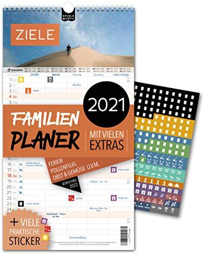 Familienplaner 2021 – ZIELE | 5 Spalten | Wandkalender: 23x43cm | Familienkalender Extras: 228 praktische Sticker, Ferien 2021/22, Pollen-, Obst- & Gemüse-, Jahreskalender, Vorschau bis März 2022