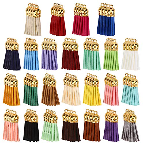 DIYASY Keychain Tassels,100 Pcs Bulk Leather Tassels for Jewelry Making Colored Tassel Pendant for Keychain Accessories Craft and Earrings Bracelets Making 25 Colors