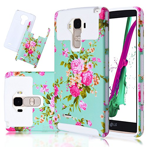 LG G Stylo/LG G Stylus (LS770) Case-Kmall (TM) Full-Body Soft Silicone Armor Skin for LG TPU+PC 2in1 Hybrid Case Heavy Duty Case,High Impact Case with Floral Pattern[White+Flower]