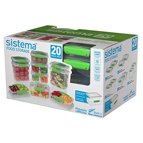 Sistema KLIP IT Collection Frischhaltedosen 20 Teile, Grün 20-Piece Green farblos