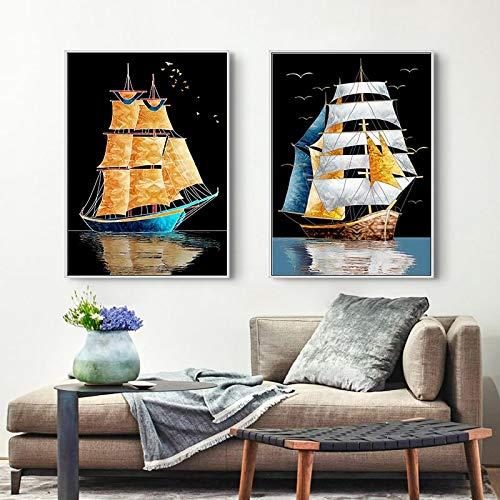 Barco de vela Barco dorado Arte de la pared Lienzos Carteles e impresiones Imágenes artísticas de pared para la sala de estar Dormitorio Pasillo Decoración para el hogar-30x45cmx2 Sin marco