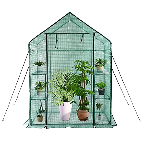 Mini Greenhouse, Walk in Greenhouse with PE Cover, 3 Tiers 4...