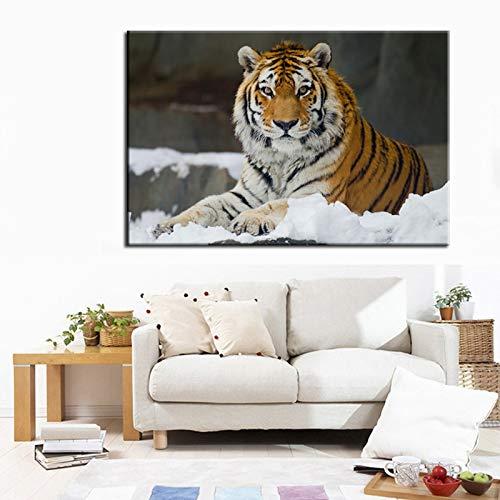 Sanzangtang Modern schilderij HD-print muurkunst poster koning van de bos woonkamer muur tijger decoratie zonder lijst