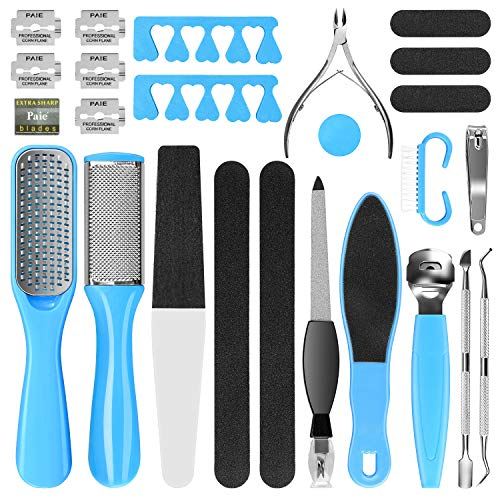 Professional Pedicure Kit, Rosmax 20 in 1 Pedicure Tools Stainless Steel Washable Foot Care Kit Dead Skin Remover Foot Spa Set at Home Suit for Cracked Skin Corns Callus Best Gift for Men and Women