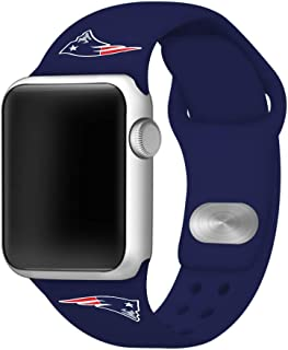 GAME TIME New England Patriots Silicone Sport Band Compatible with Apple Watch - (38mm/40mm Navy Blue)