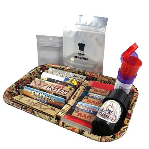 BIGSMOKESUPPLIES Small RAW Rolling Smoking TRAY Set - Smokers Hamper Gift Set Kit