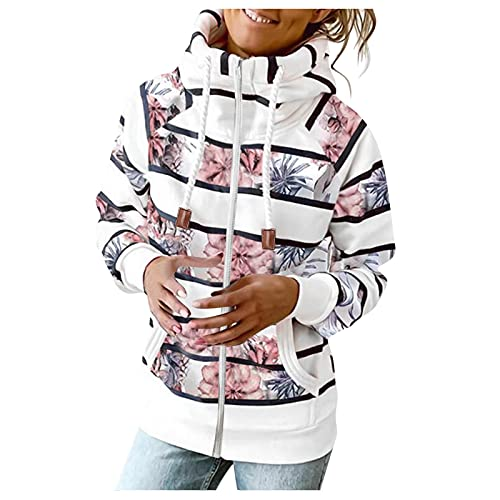 Women Zip Up Hoodie Sweatshirt Floral Long Sleeve Causal Striped Oversized Jacket with Pockets Teen Girl Outerwear