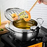 BYBYCD Stainless Steel Deep Frying Pot Japanese Style Deep Frying Pan Tempura Deep Fryer Pot with...