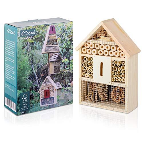Möge Casetta Hotel per Insetti 21 x 9 x 30 CM (L x P x H) rifugio in Legno Naturale per Insetti, casa Perfetta per Coccinelle, Ali di Pizzo, api e Farfalle