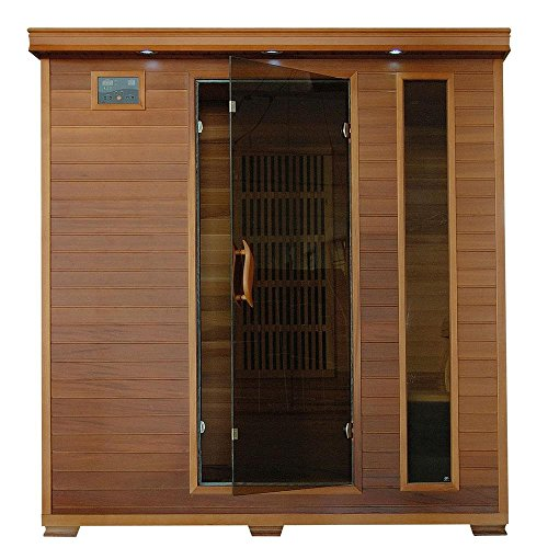 SA1318 Klondike 4 Person Cedar Infrared Sauna with 7 Carbon Heaters Bronze Tinted Tempered Glass Door Oxygen Ionizer EZTouch Cortrol Panel CHROMOTHERAPY System and Sound System