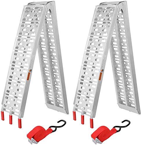 Fixkit Rampe de Chargement, Lot de 2 Rampe Pliable en Aluminium, Charge Max. 680 kg, Rampe pour Moto, Tracteur, Voiture, Tondeuse, Rampe Eclairage Remorque et Rampe d'Acces, Antidérapant et Résistant