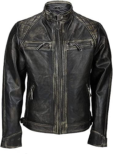 Chaqueta de piel suave acolchada para hombre, estilo vintage, estilo motociclista, estilo clásico