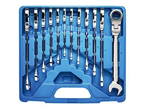 KRAFTPLUS K.130-9512 Coffret de clés mixtes à cliquet (72 crans) avec articulation - Clé platte à fourche - Clé à oeil polygonale - Système métrique - 12 pcs - 8-19 mm