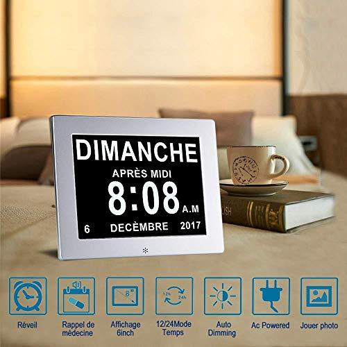 GUOYUN 8-inch metalen digitale wekker digitale kalender voor het lezen van dementie kinderen Ouderen visueel verminderd en Alzheimer patiënten grote lettertype elektronische kalender