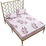 DXSERCV Protector de colchón Funda de colchón Impreso Hermoso Protector de Cama Almohadilla Hojas Blancas Antipolvo Ropa de Cama de ácaros 160X200Cm