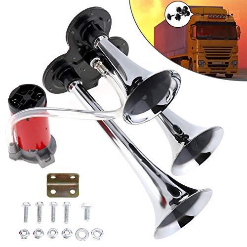 12V / 24V 110-135dB Super Loud Triple Tone Air Horn Set Trumpet Compressor for Motorcycle Car Boat Truck (Voltage : 24V)