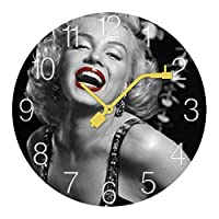 マリリンモンロー Marilyn Monroe 壁掛け時計 木製掛け時計電池式 掛け時計 おしゃれ 円形 静音 ウオールクロック インテリア 部屋装飾