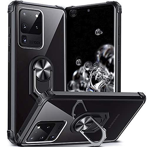 DOSNTO Kompatibel mit Samsung Galaxy S20 Ultra Hülle Handyhülle Schutzhülle Stoßfest Ständer Fallschutz Transparent Silikon mit Ring, Schwarz