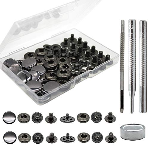 12 Sets Heavy Duty Leather Snap Fasteners Kit, 15mm Metal Snap Buttons Kit Press Studs with 4 Install Tools, Leather Rivets and Snaps for Clothing, Leather, Jeans, Jackets, Bracelets, Bags (Black)
