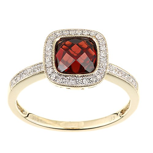 Naava Women's 9 ct Yellow Gold Diamond and Garnet Ring, Square Cut Gemstone, Size - L
