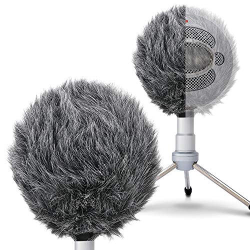 SUNMON Deadcat Mic Windshield Fur Filter for Blue Snowball iCE Condenser Microphone - Outdoor Mic Windscreen Wind Muff (Grey)
