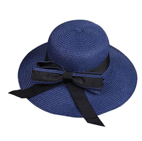 Demarkt Zonnehoed voor dames, strohoed, dames, zonwering, hoed met bowknot, voor dames en meisjes donkerblauw