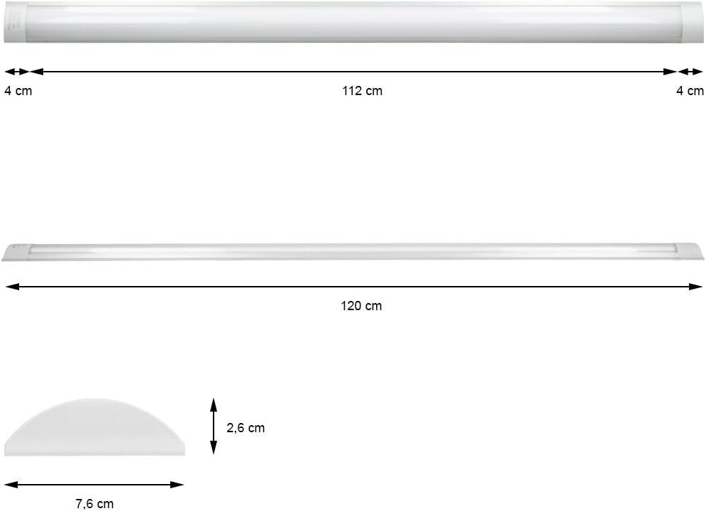ECD Germany Plafoniera LED 60 cm Ultraslim Tubo Luce Soffitto Slim Plafoniera per Ufficio o Garage 18W CA 220-240 V 1305 Lumen Bianco Freddo 6000K IP20 Ultraslim Lampada da Ufficio Cucina o Magazzino