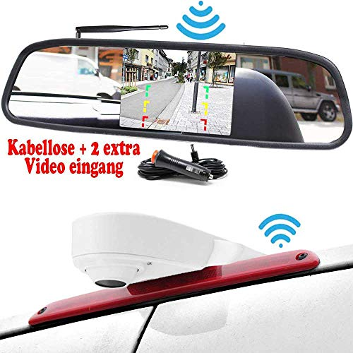 HSRpro RFK-53 draadloze achteruitrijcamera voor Transporter (compatibiliteit Mercedes Benz, Fait, Ford, Opel & VW Sprinter Vito Crafter Ducato Transit Viano) campers & bus incl. monitor