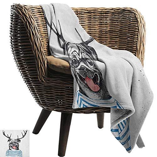 ZSUO Patroon deken Pug, Grappige Hond Kijken Film Popcorn Zachte Drank en Bril Dierlijke Foto Print Rode Crème Ruby Gezellige en Duurzame Stof-Machine Wasbaar