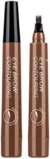 DALUCI 4 Head Fine Sketch Fork Tip Tattoo Tint Eyebrow Pen Liquid (Dark Brown)