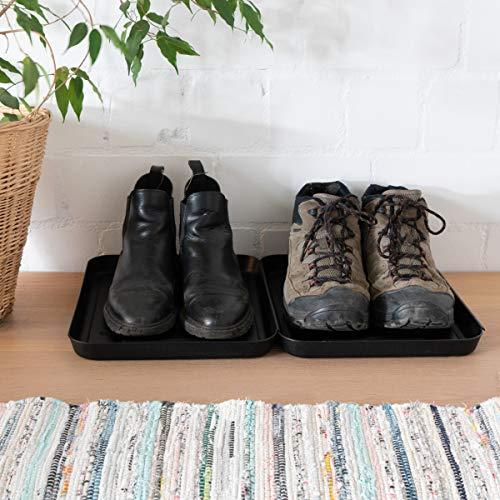 Navaris Bandejas para Zapatos - Set de 3X Bandeja para secar Calzado - Bases escurridoras de Goteo con Borde Elevado - 35 x 27 x 2.5 CM - Negro