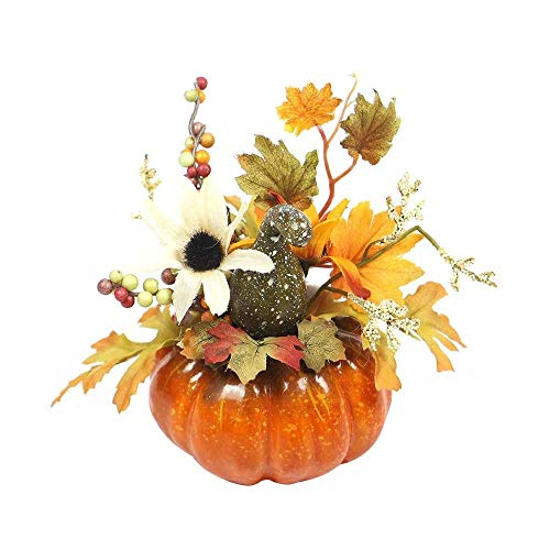 Halloween Thanksgiving Künstliche Kürbis Dekoration Deko Halloween Dekoration Herbstdeko Halloween Dekoration Künstlich Kürbis Tisch Ornamente Halloween Thanksgiving (Sun Flower Green Curved Melon)