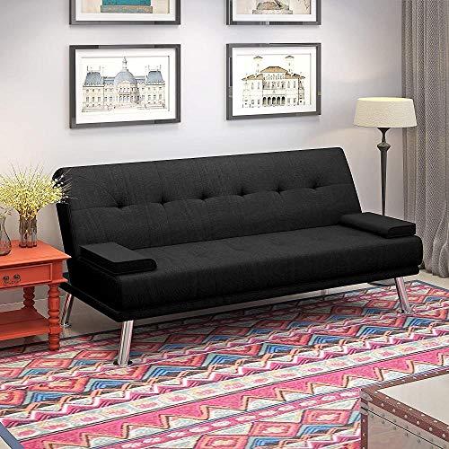 YRRA Tela Sofá Cama de 2 a 3 plazas Moderno Sleeper Souch Seat Asiento Acolchado Sofá salón con 2 Cojines para Sala de Estar Habitación (Tela Negra)-Negro