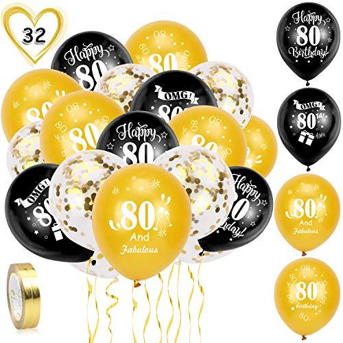 HOWAF Globos de cumpleaños, 30 Piezas 80 años cumpleaños Globos de Latex, Negro y Oro Globos de Confeti y 2 Cintas para Hombres y Mujeres Fiestas de 80 cumpleaños decoración Suministros