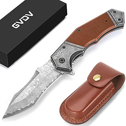 GVDV Klappmesser Damast mit G10 Griff, Taschenmesser mit Tasche & Liner-Lock, Outdoor Messer für Survival, Camping, Jagd, Geschenke für Männer