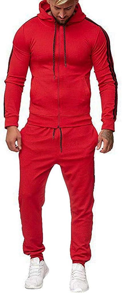 Men's Tracksuit Set Slim Fit, Limsea Skinny Hoodies Fleece Joggers Set Sweatsuit Warm Sports Suit