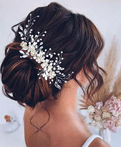 Unicra Flower Bride Hochzeit Haarkamm Silber Kristall Haarschmuck Strass Kopfschmuck für Frauen und Mädchen