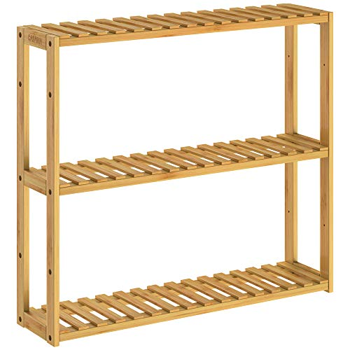 CASARIA Badregal Wandregal Hängeregal Bambus 3 Ablagen Höhenverstellbar 54x60x15cm Standregal Hängend Bad Holz Küche