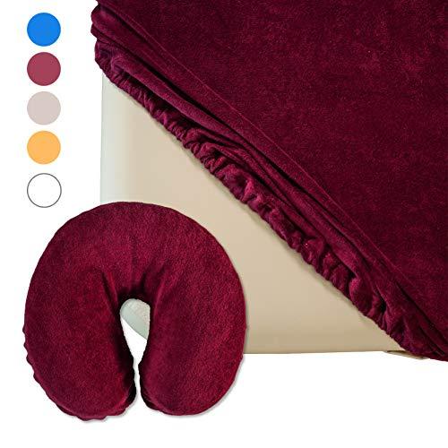 Zen Spannbezug-Set für Massage-Liege und Kopfstütze | flauschiger Frottee | extra-pflegeleicht und waschbar 60° | OEKO TEX 100 | für alle gängigen Kosmetik-Tische und Therapie-Bänke (Burgund)