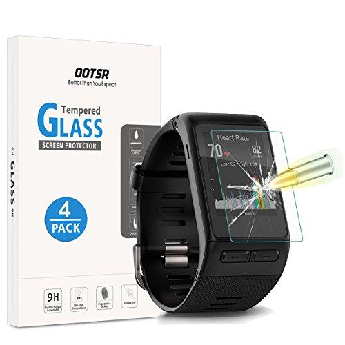 OOTSR (4 Stück) Panzerglas Schutzfolie für Garmin Vivoactive HR, Bildschirmschutzfolie für Garmin Vivoactive HR [Kratzfest] [Transparent] [Blasenfrei]