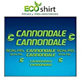 Ecoshirt M9-PP3O-MG02 Pegatinas Stickers Cuadro Frame Cannondale Scalpel Am26 Aufkleber Decals Adesivi Bike BTT MTB Cycle, Verde