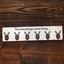 Ssxuxi Wood The Stockings were Hung Wood Sign|| Stocking Holder|| Reindeer Sign|| Rustic Christmas Sign