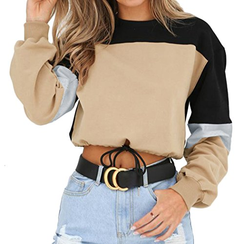 Women's Casual Long Sleeve Round Neck 3 Color Stitching Hem Lace Up Crop Sweatshirts, Khaki, Large