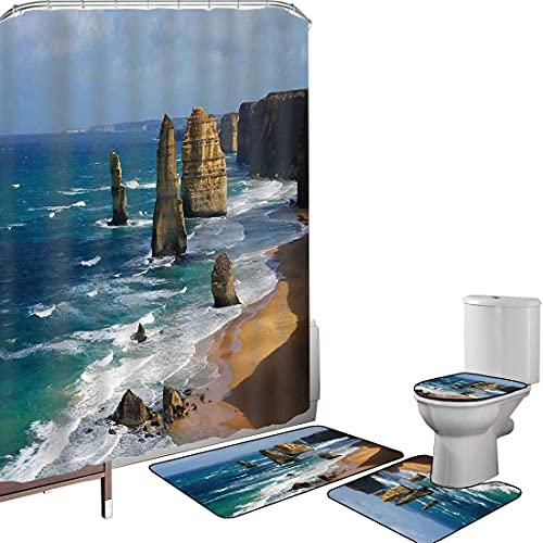 Juego de cortinas baño Accesorios baño alfombras Decoración costera Alfombrilla baño Alfombra...
