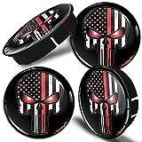 SkinoEu® 4 x 60mm Universal Tapas de Rueda de Centro Craneo Cráneo Calavera Bandera de USA Tapacubos para Llantas Coche C 78