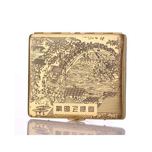 JKCKHA Caso de cigarrillos, completa Cobre caso de cigarrillos, finamente tallado Qingming Shanghe Figura 9 varillas, cigarrillo al aire libre Caso, ultrafina regalo de los hombres fumadores Conjunto,